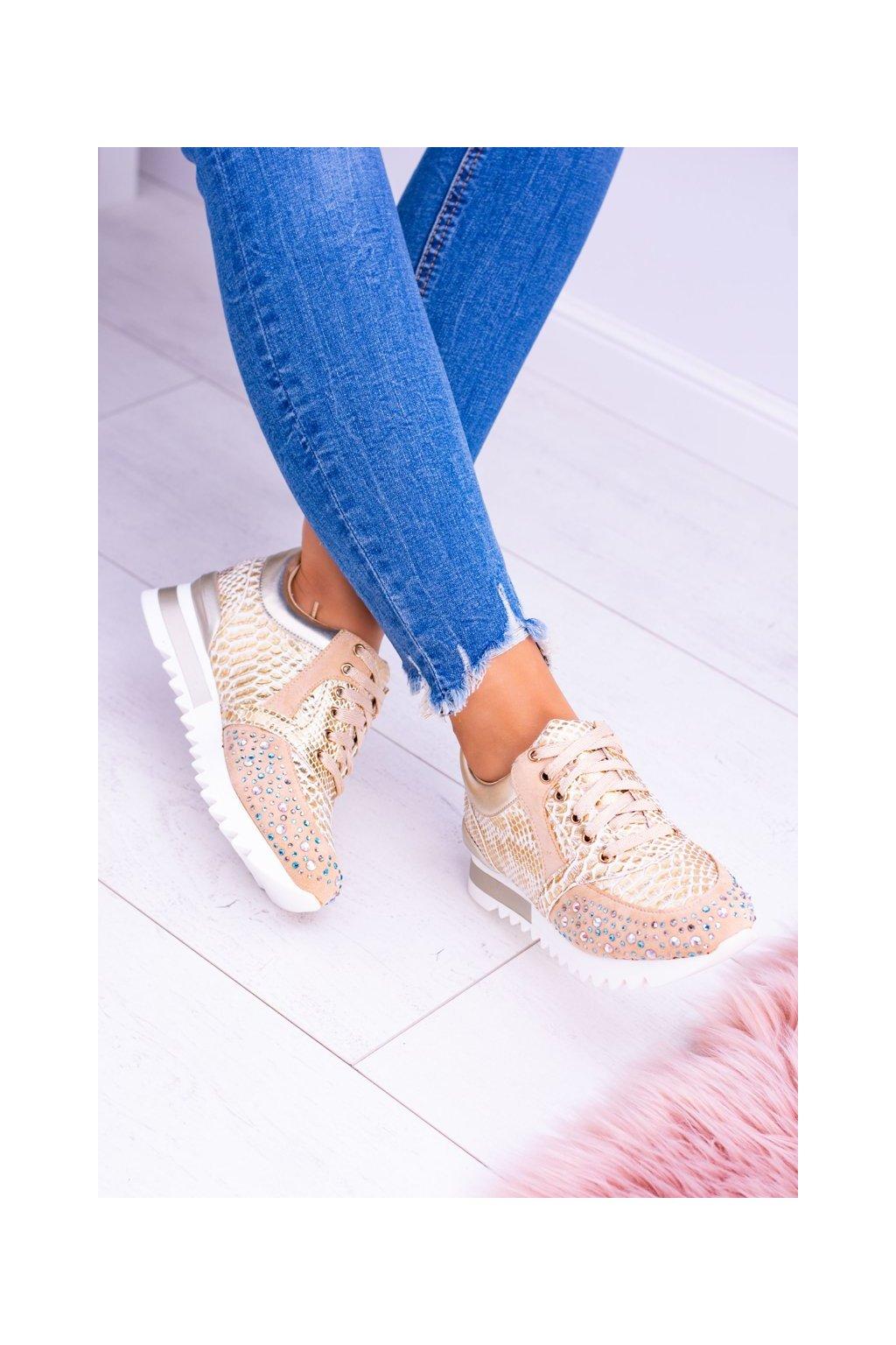 Dámske tenisky farba žltá kód obuvi D7-106 GOLD
