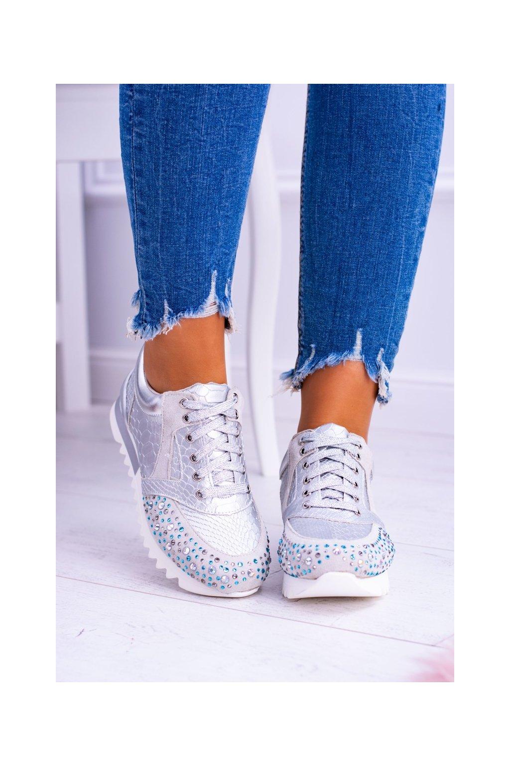 Dámske tenisky farba sivá kód obuvi D7-106 SILVER
