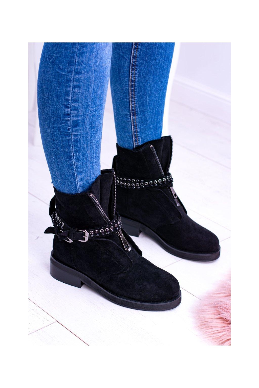 Dámske čierne členkové topánky Rafell