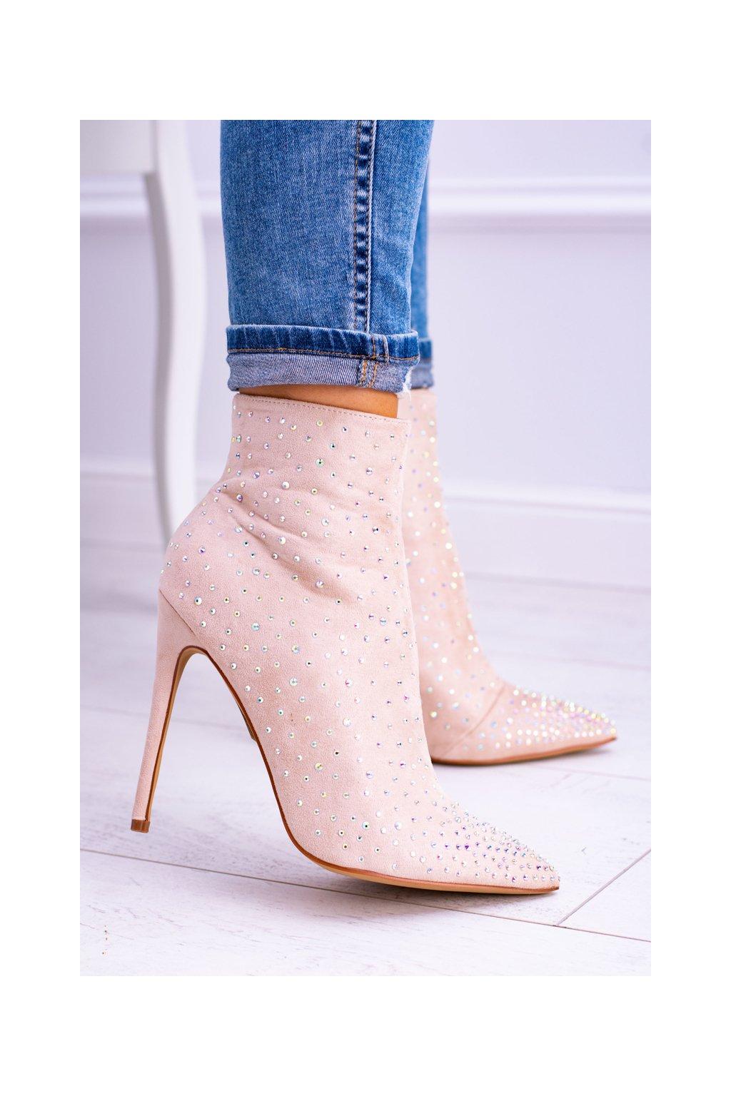 Béžové semišové vysoké topánky na opätku so zirkónmi Lu Boo Cubano