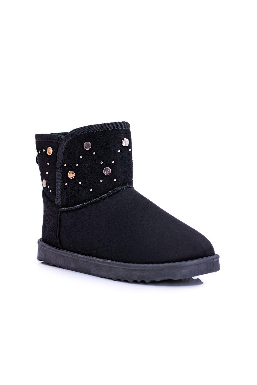 Dámske čierne teplé snehule Semišové topánky B.gy