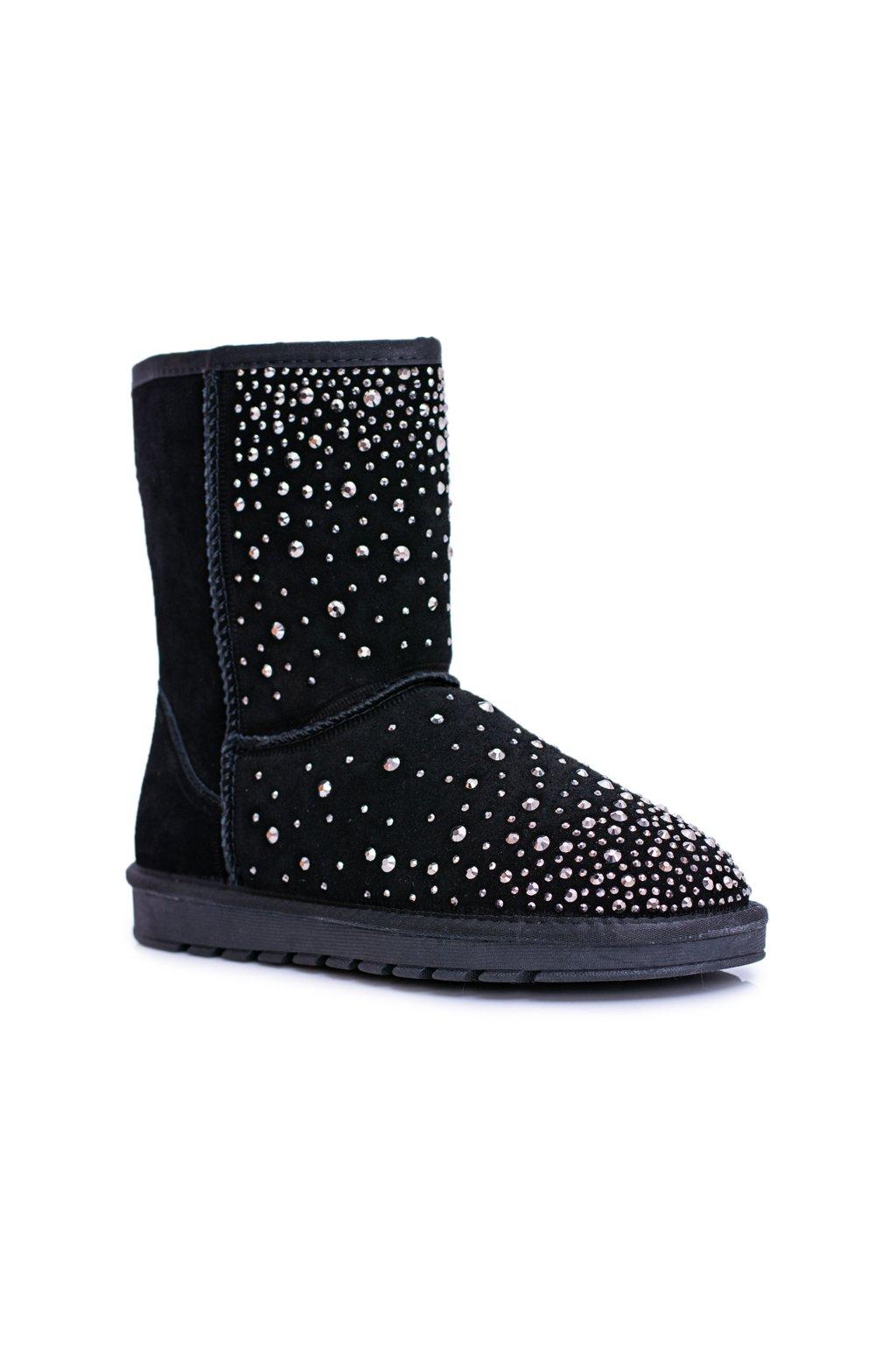 čierne kožené topánky Snow Shine