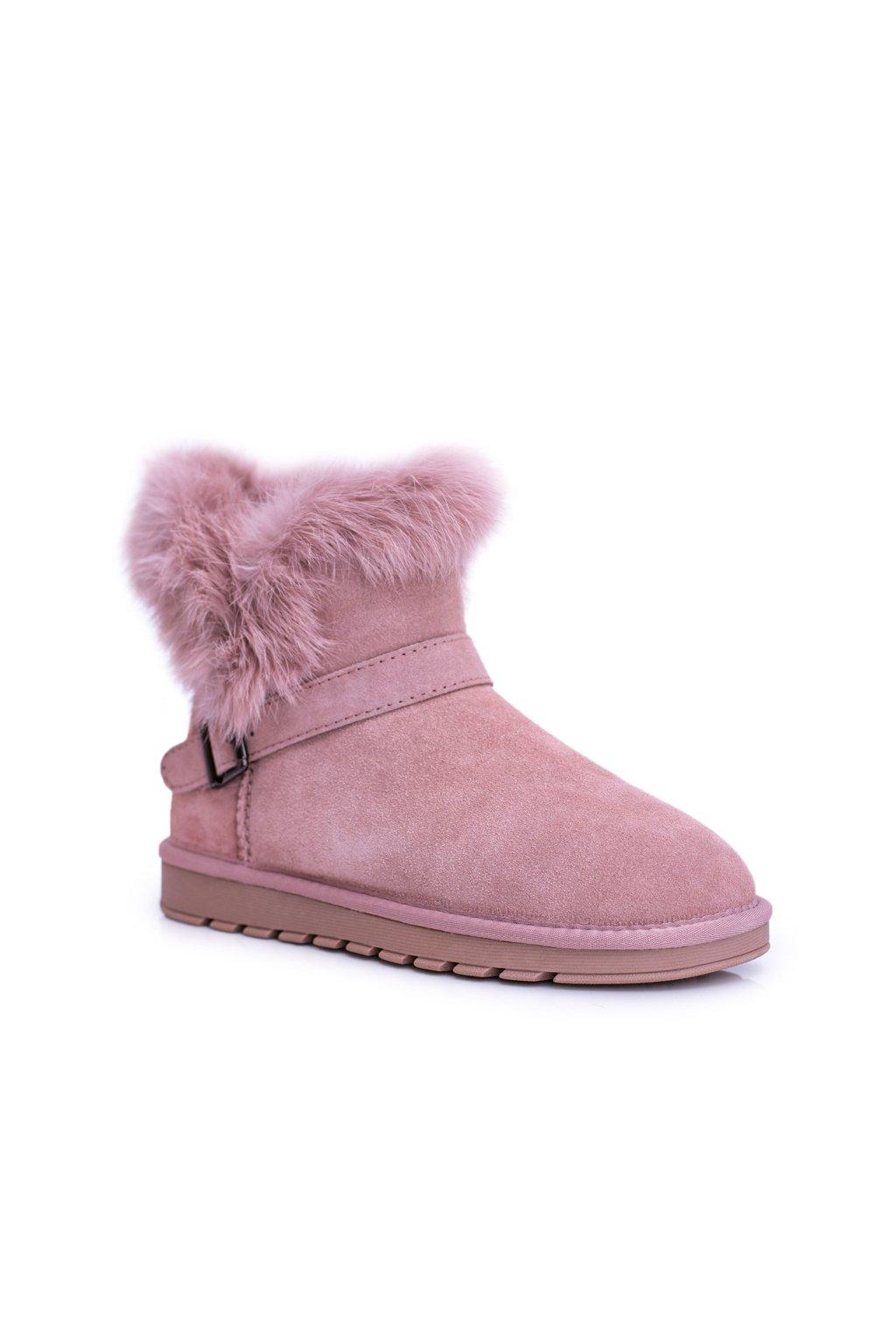 Ružové kožené dámske členkové topánky s kožušinou Arctic