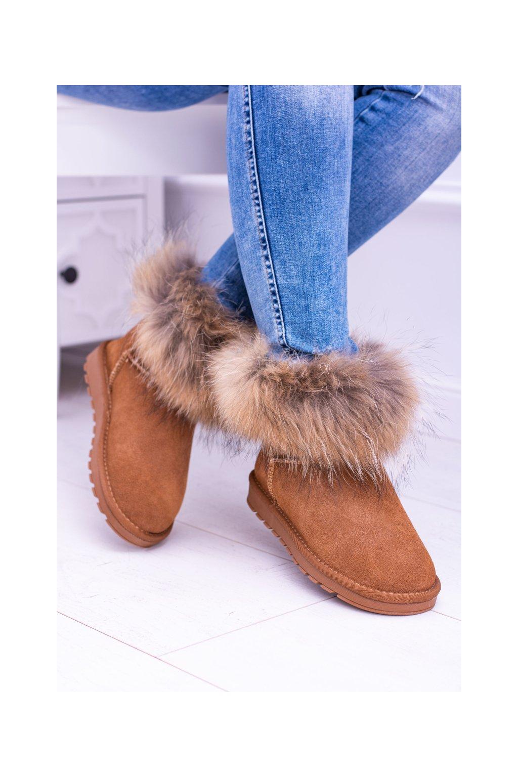Dámske členkové topánky kožené Snehule s kožušinou ťavia Snow Fox