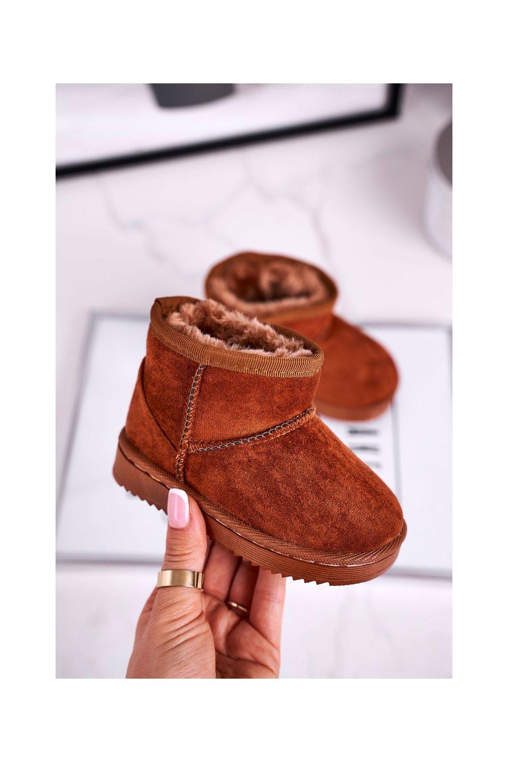 Detské snehule farba hnedá kód obuvi 20213-1D/2D KHAKI BROWN