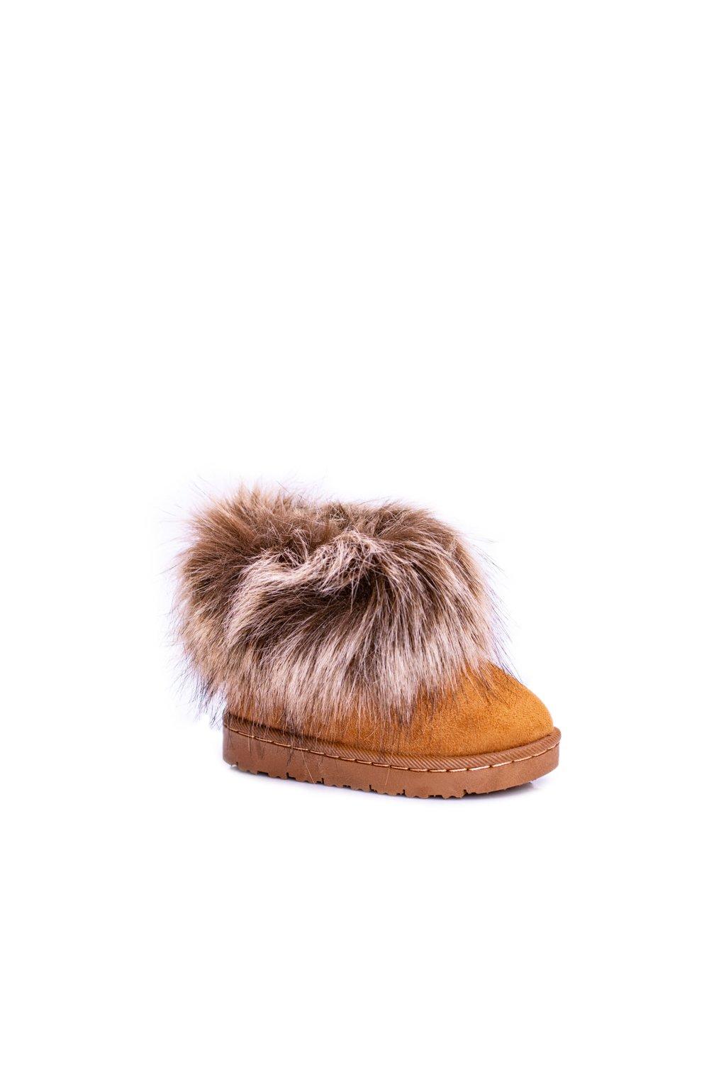 Detské členkové topánky Snehule s kožušinou ťavia Small Fox
