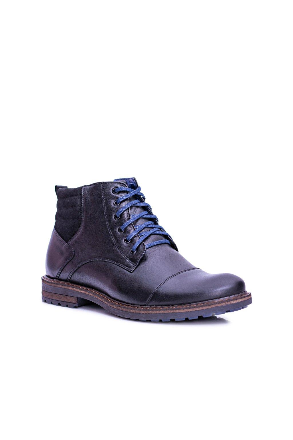 Nikopol Čierne kožené pánske vysoké topánky so zipsom Ford