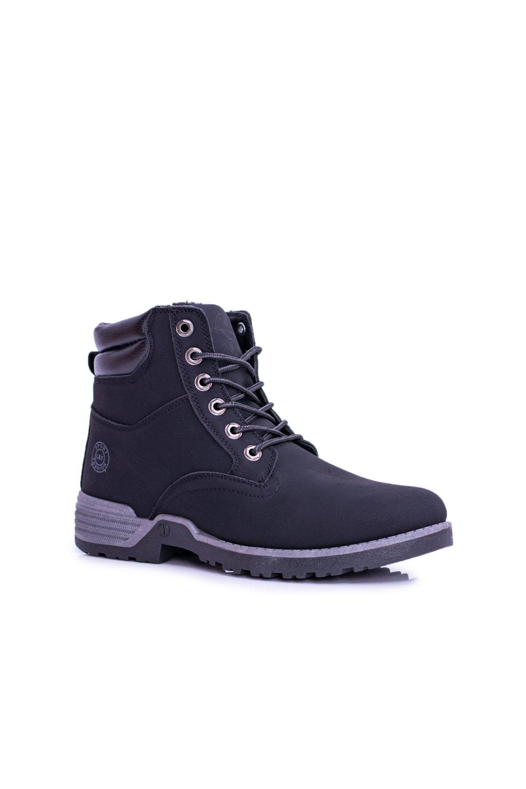 Pánske trekingové topánky farba čierna kód obuvi M0078 BLK