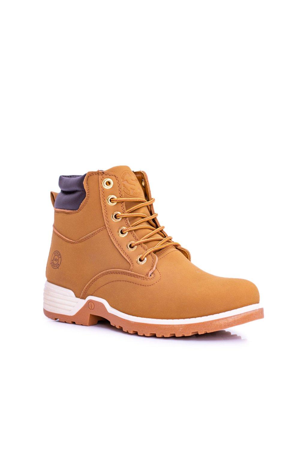 Pánske trekingové topánky farba hnedá kód obuvi M0078 CAMEL