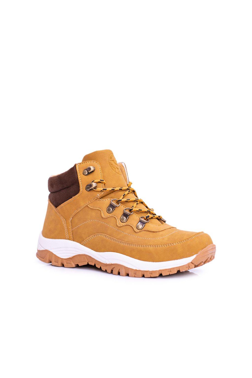 Pánske trekingové topánky farba hnedá kód obuvi M0077 CAMEL