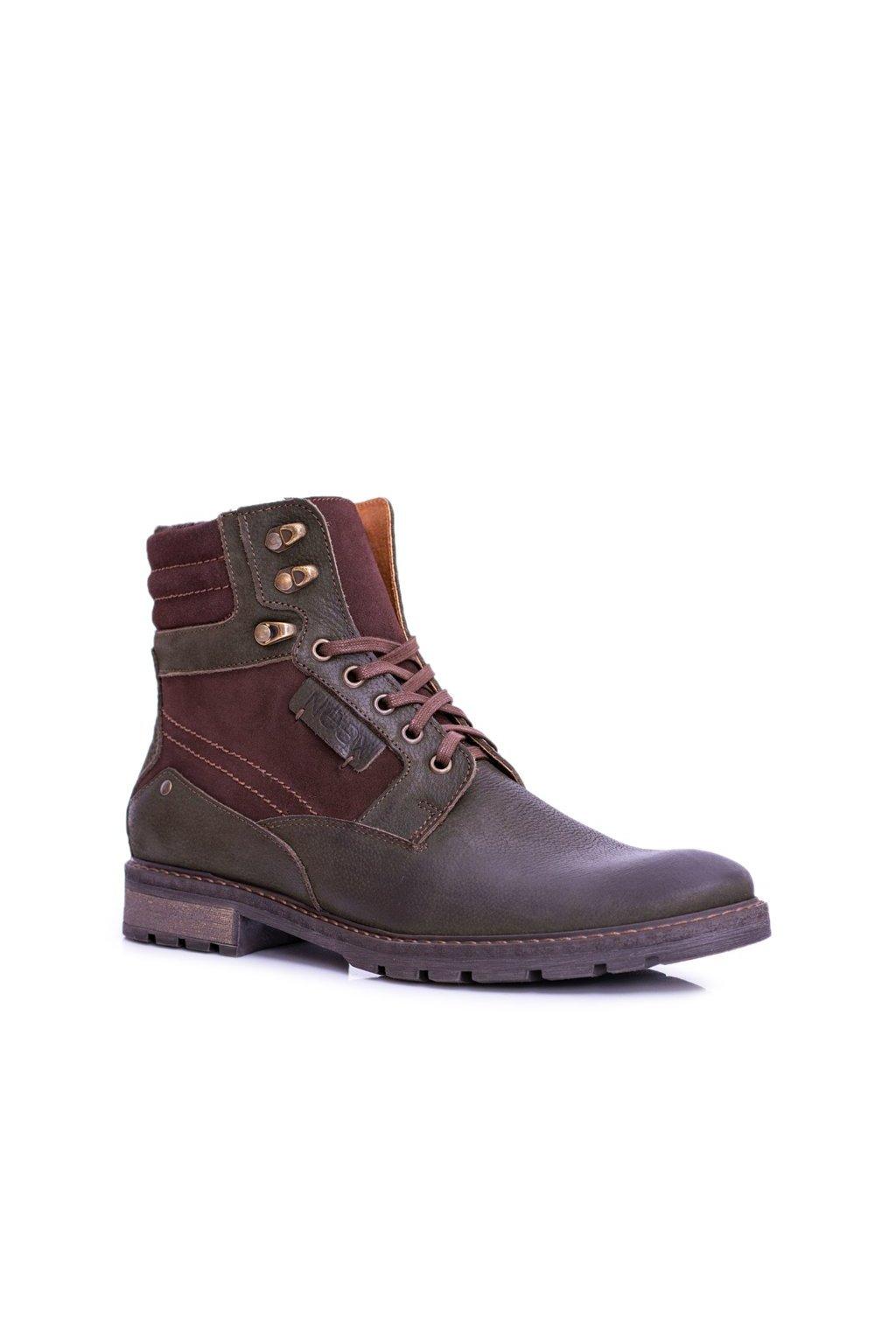 Pánske topánky na zimu farba zelená kód obuvi 297F OLIVE FLOTER