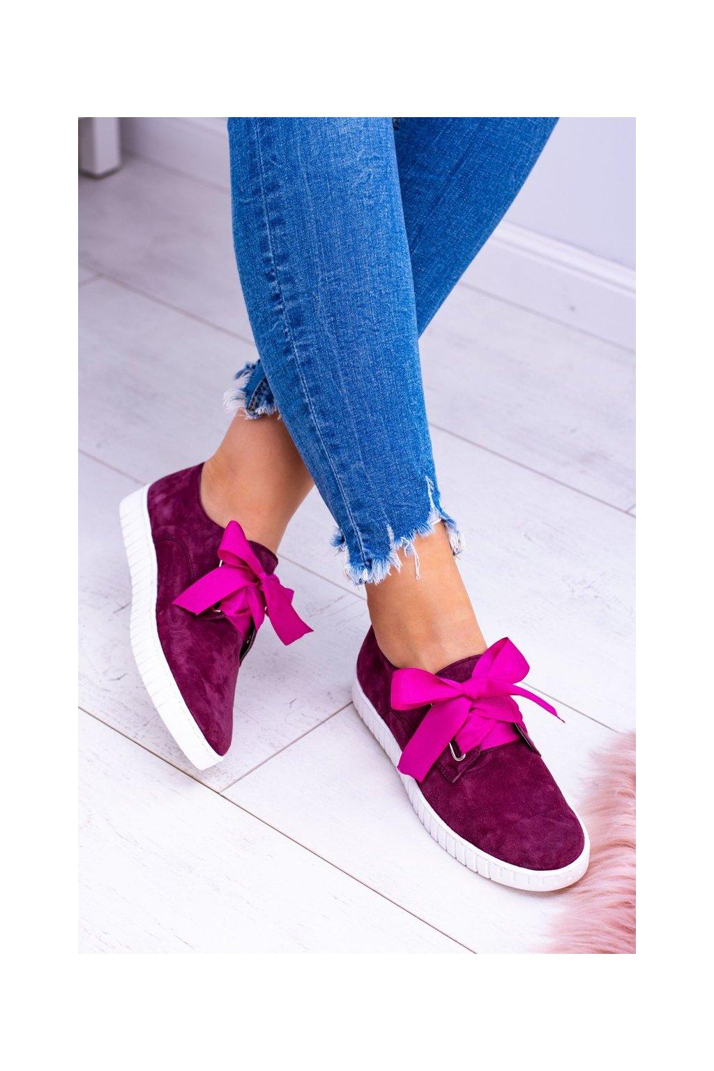 Dámske tenisky farba červená kód obuvi 813 BORDO WELUR