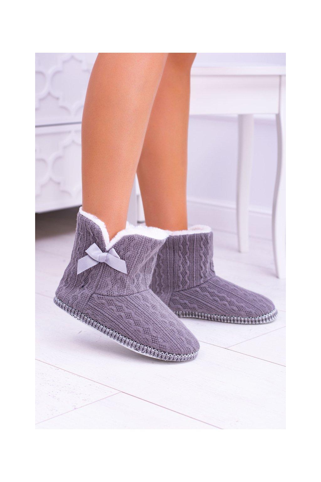 Šedá dámska teplá domáca obuv papuče Duffy