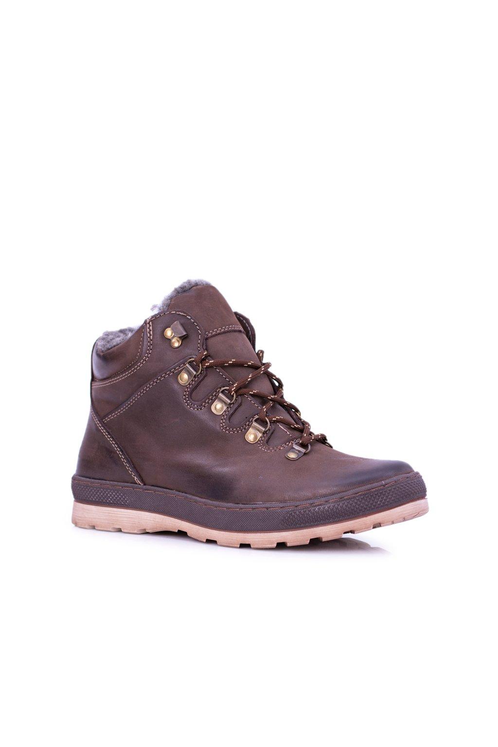 Hnedé kožené pánske teplé topánky Abelo