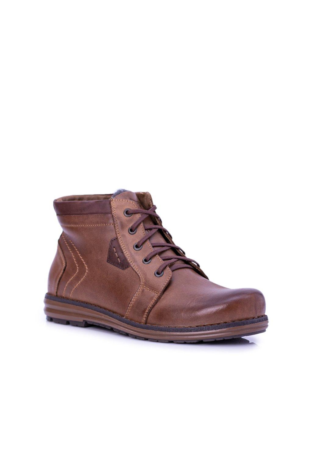 Pánske topánky na zimu farba hnedá kód obuvi J-34 BROWN