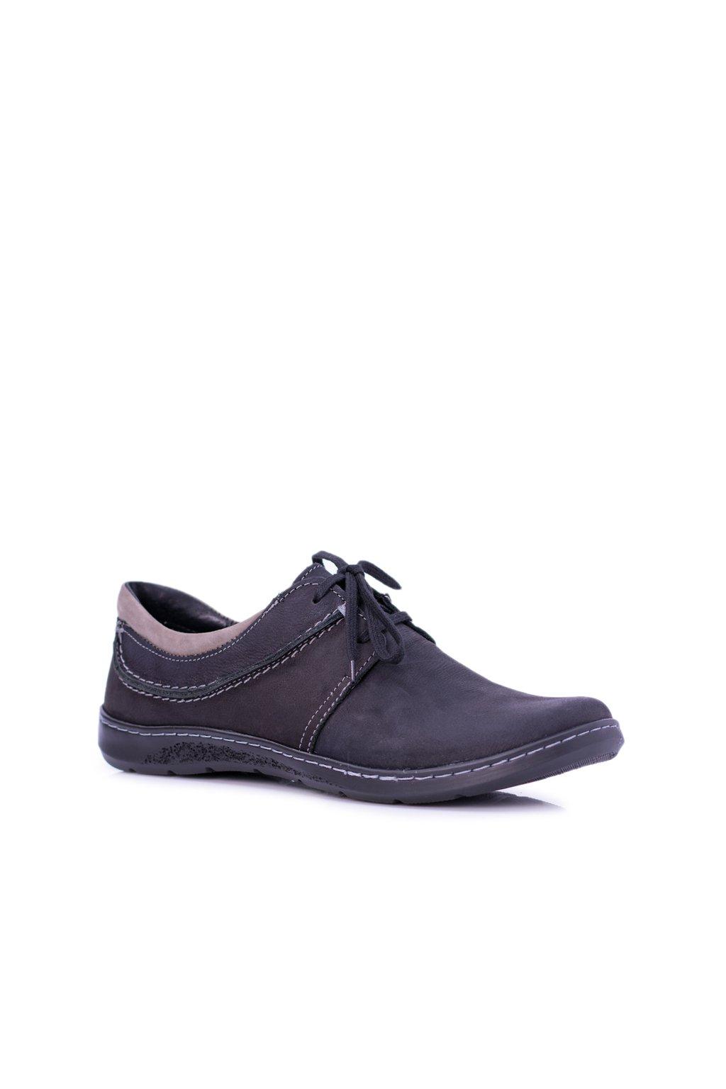 Čierne Pánska kožená obuv Nubuck Fuego
