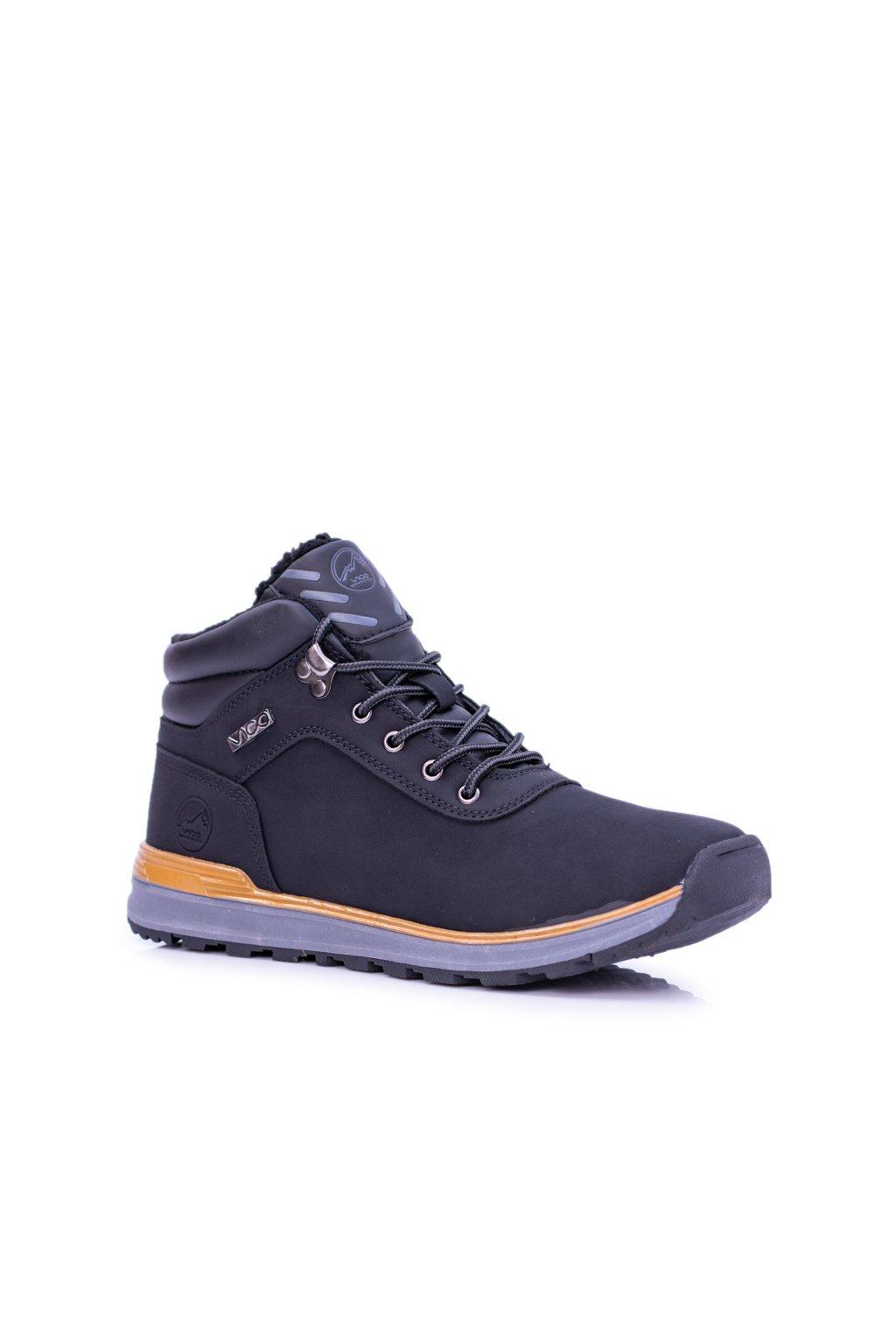 Teplé čierne pánske trekové topánky Preventi