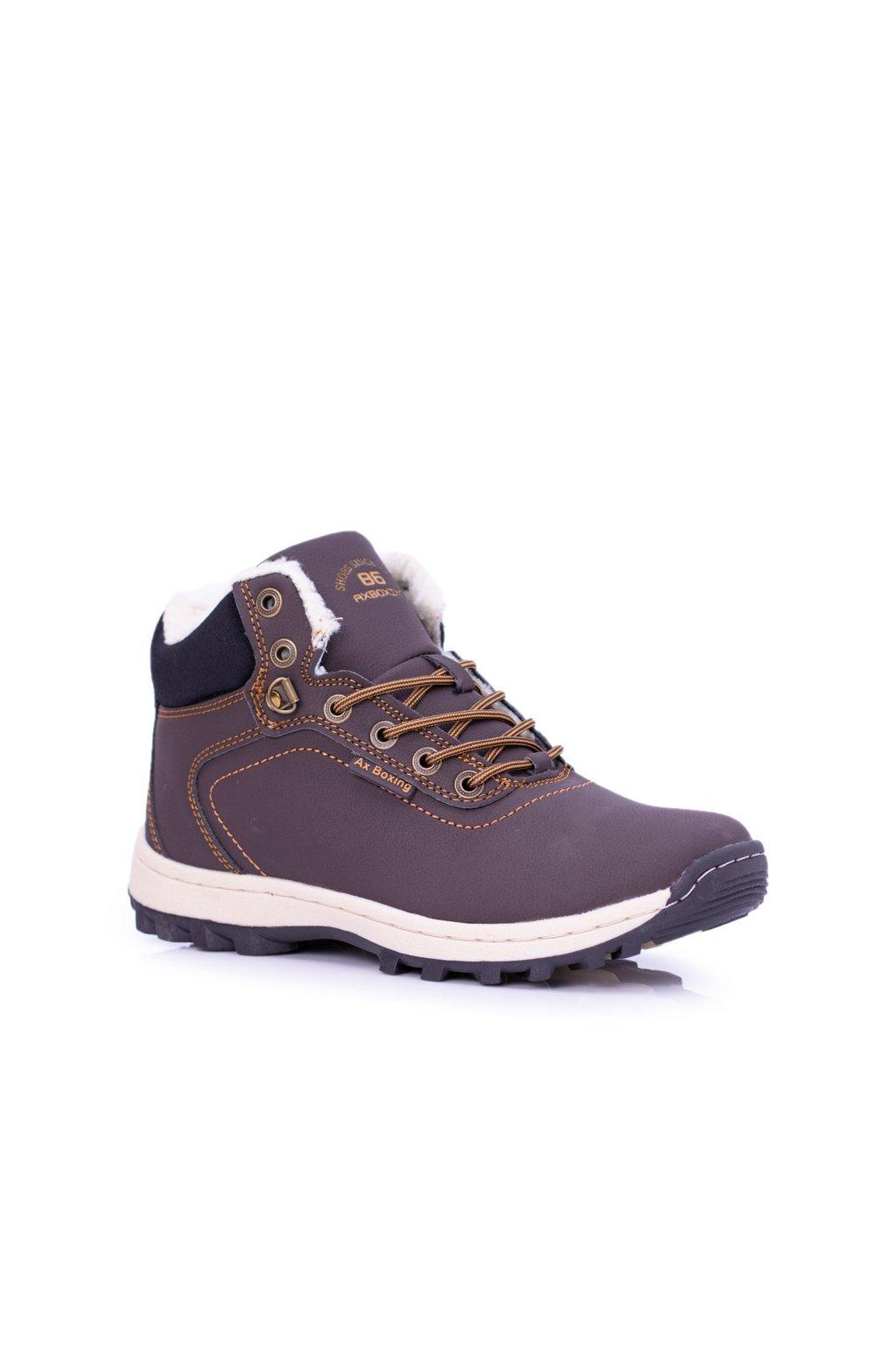 Pánske trekingové topánky farba hnedá kód obuvi A87445-5 DK.BROWN