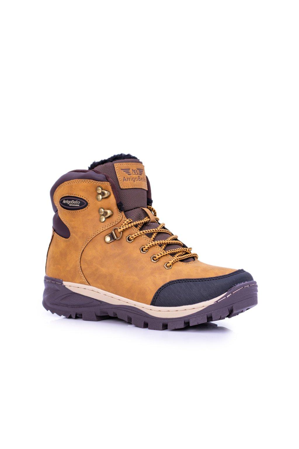Pánske trekingové topánky farba hnedá kód obuvi A87351-8 YELLOW