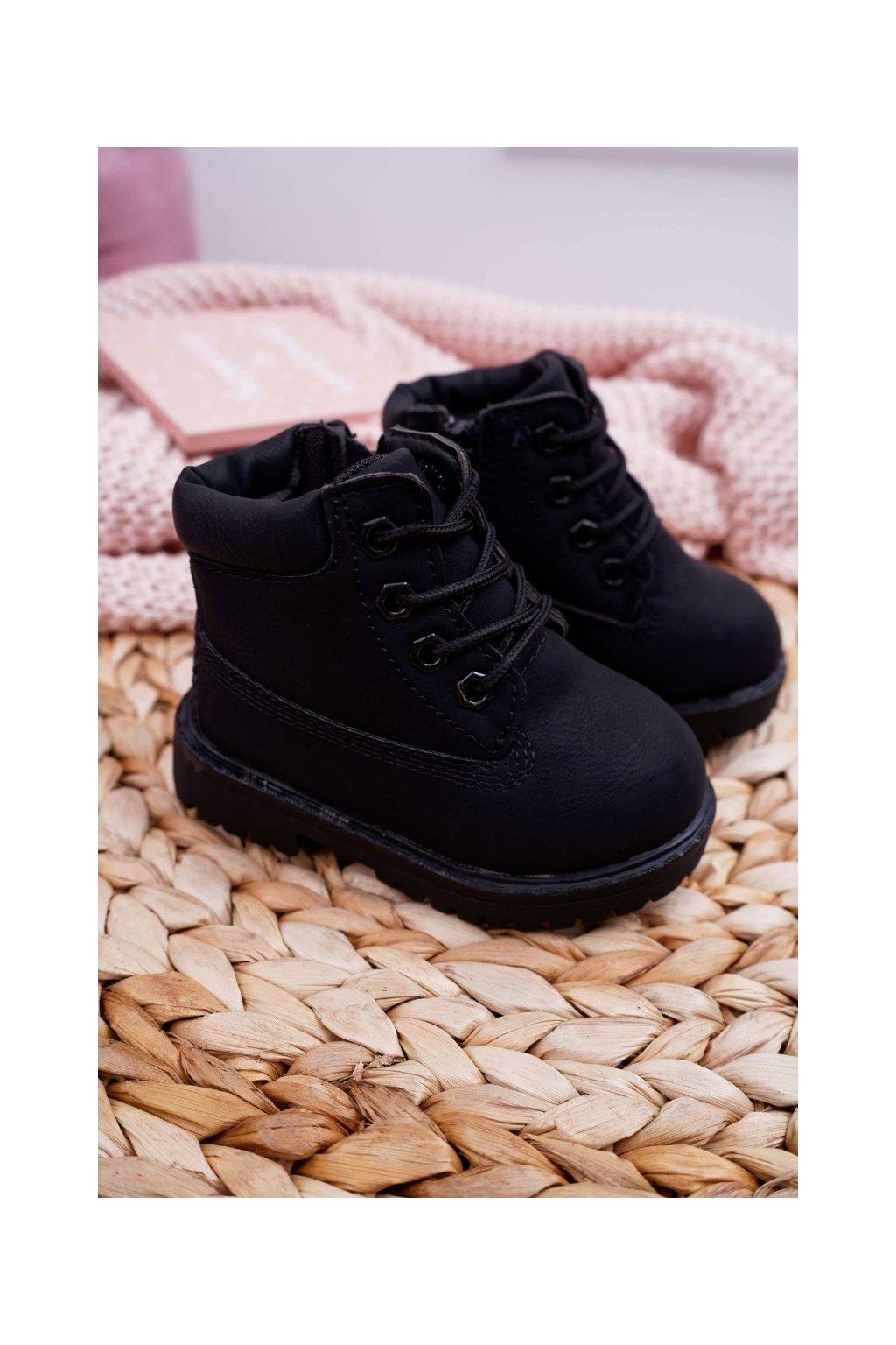 Detské členkové topánky farba čierna kód obuvi 20305-1A/2ABLK