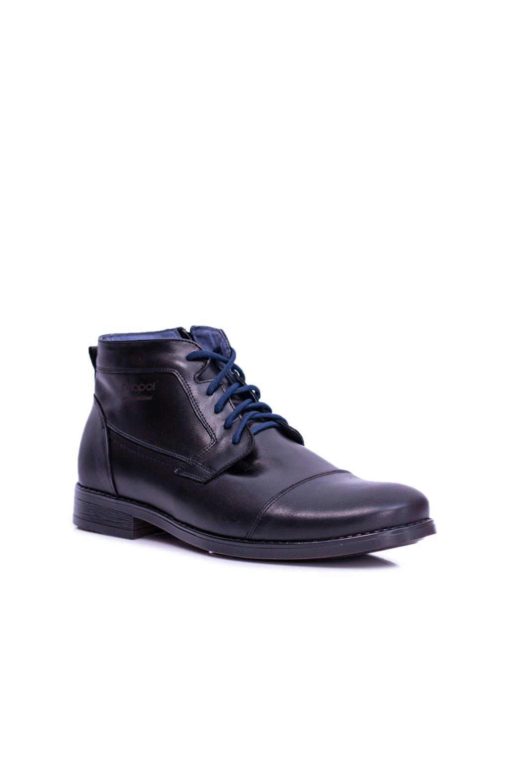 Čierne kožené pánske vysoké topánky so zipsom Gregory