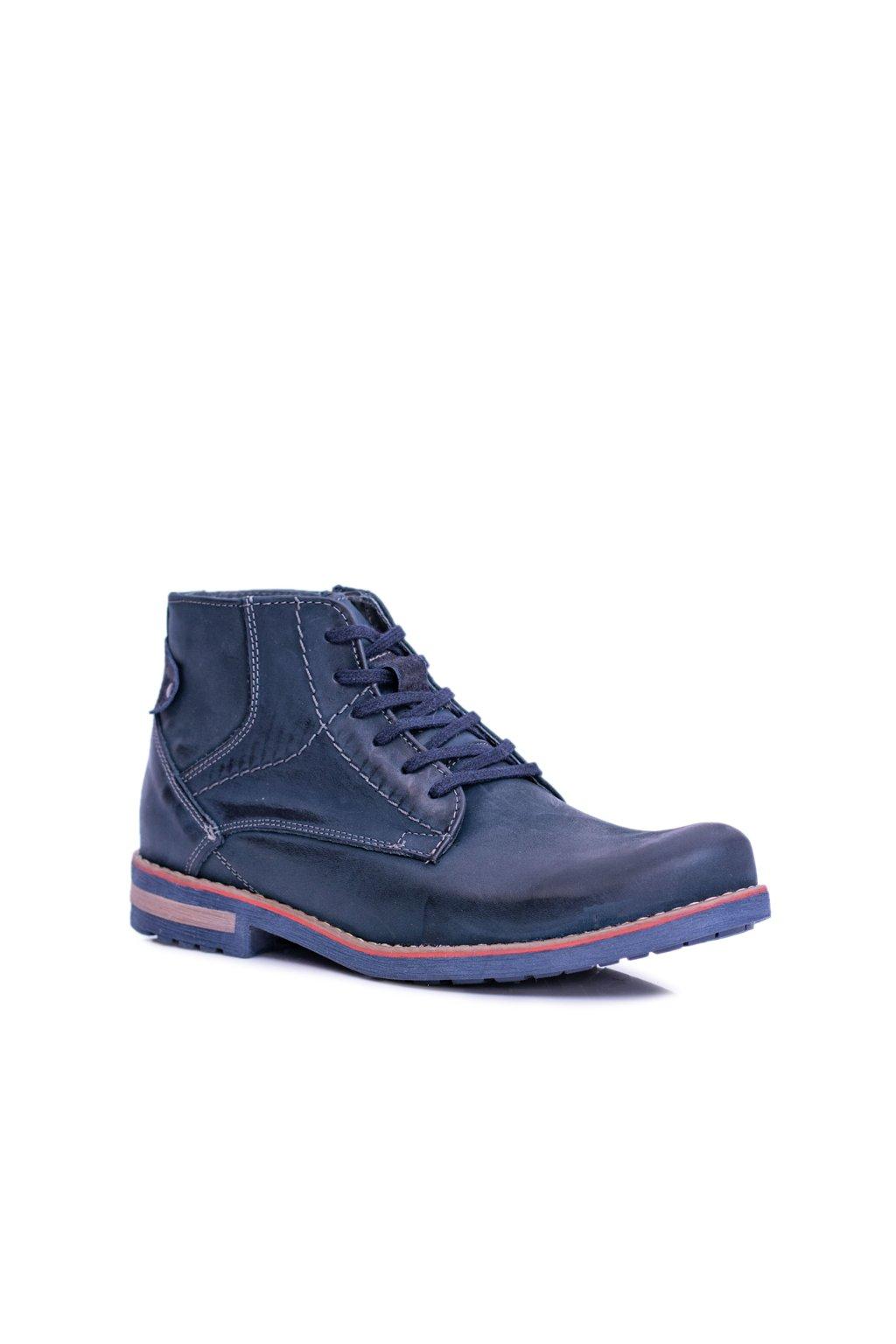 pánske kožené vysoké topánky so zipsom Teplé Komodo 731