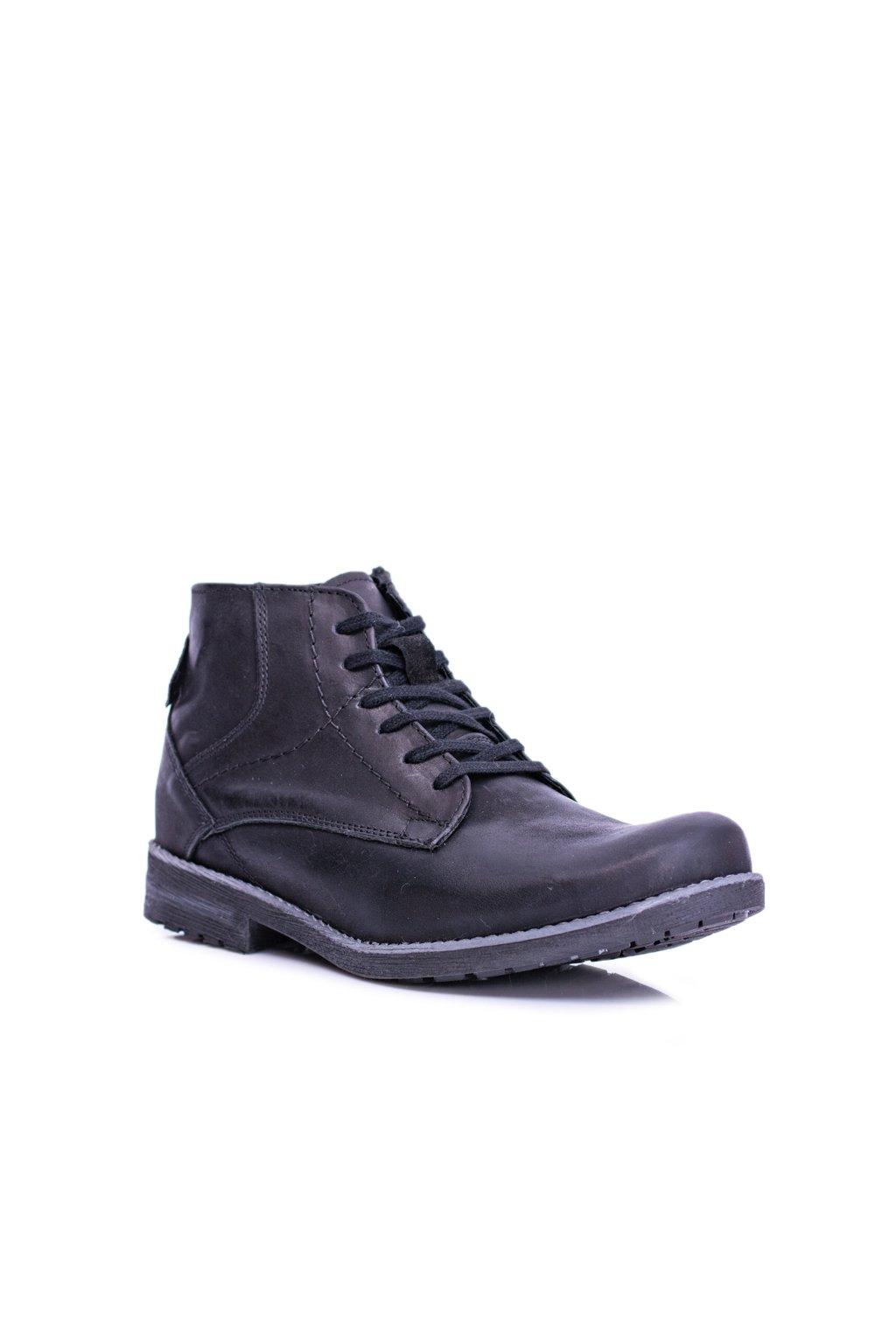 pánske kožené vysoké topánky so zipsom Teplé čierne Komodo 731
