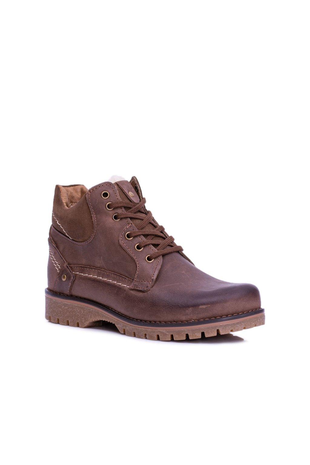 Pánske a detské kožené topánky so zipsom Teplé hnedé Komodo 885