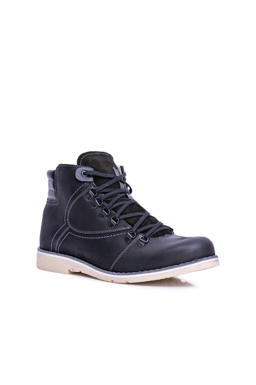Pánske topánky na zimu farba čierna kód obuvi 733 BLK