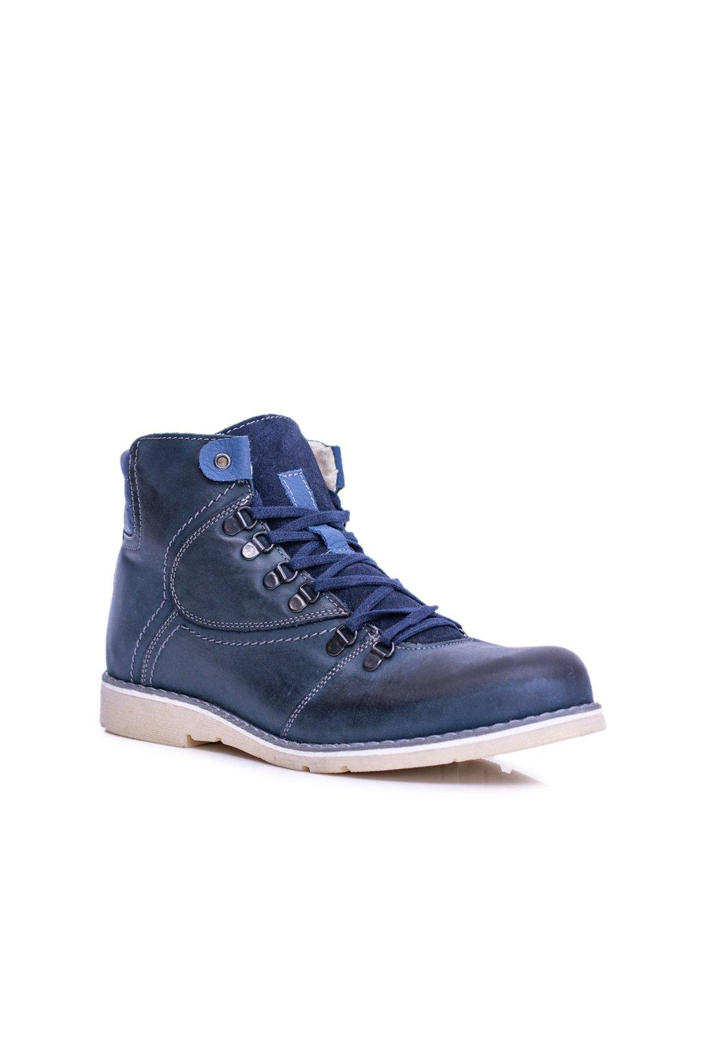 pánske kožené vysoké topánky Teplé tmavo modré Komodo 733