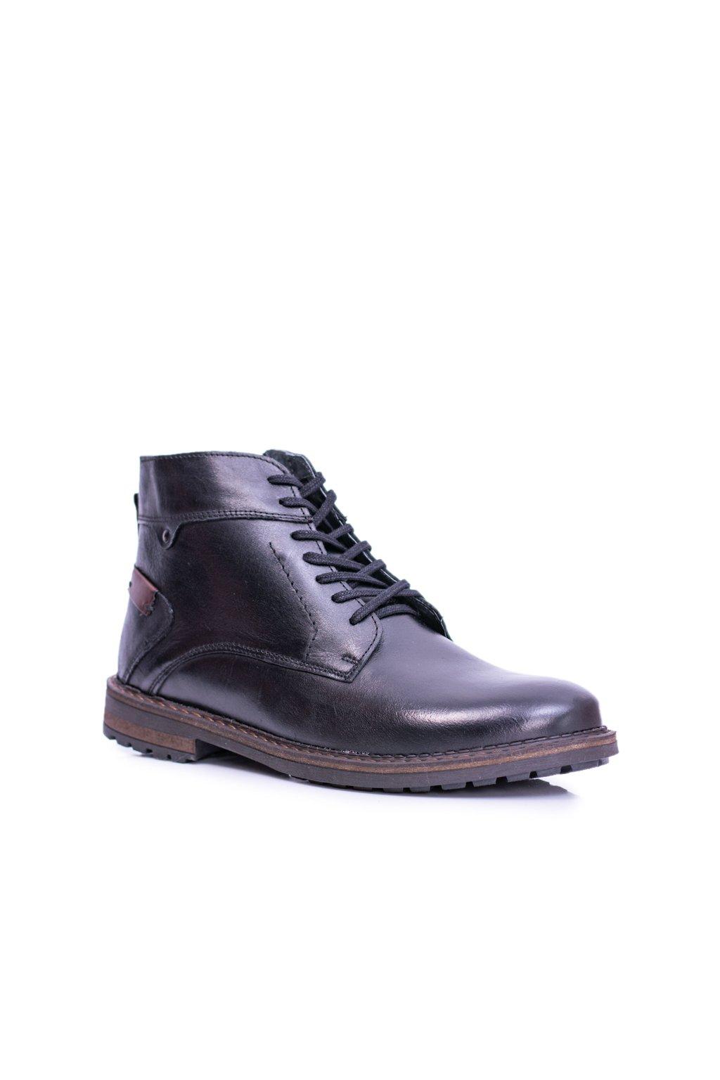 Čierne topánky pánske kožené hrejivé topánky Devenor
