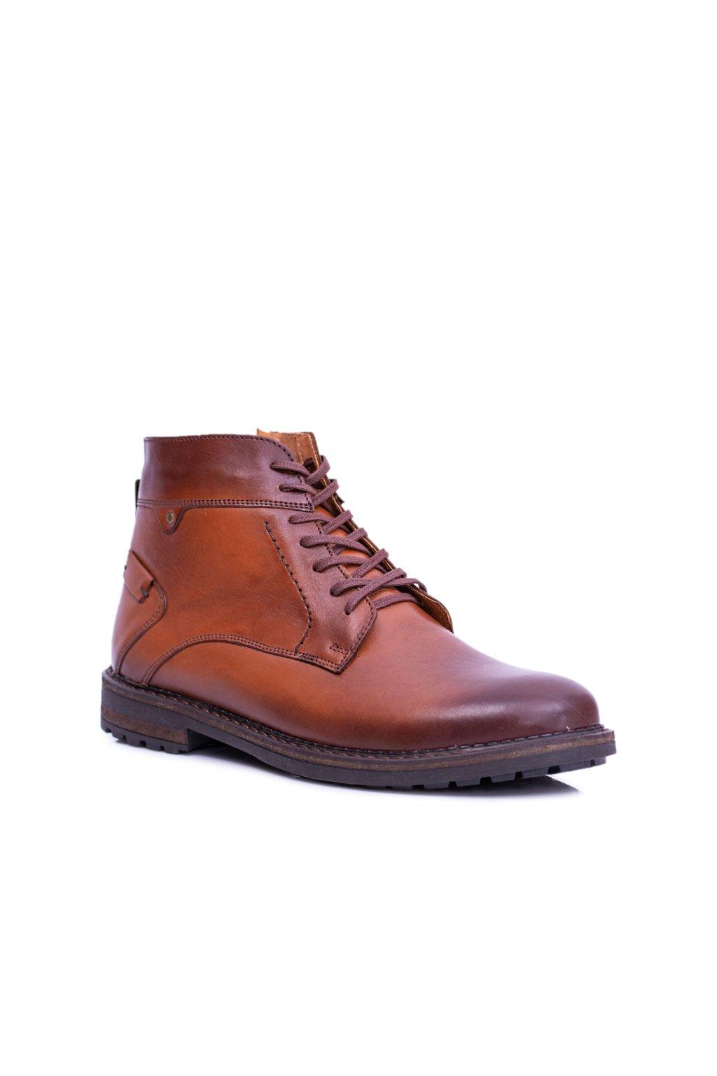 Hnedé topánky pánske kožené teplé topánky Devenor
