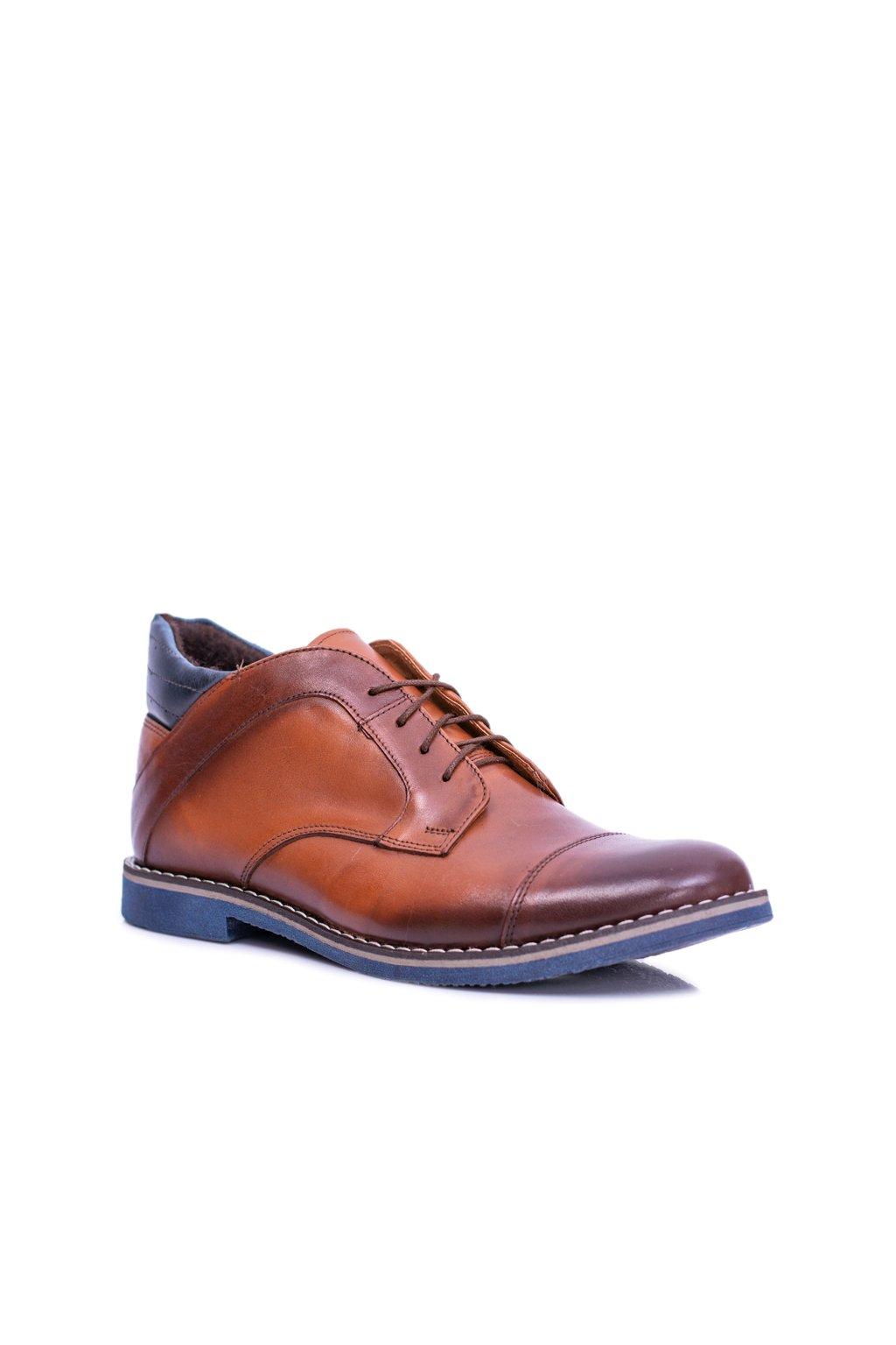 Hnedé pánske kožené vysoké topánky hrejivé Hakuro