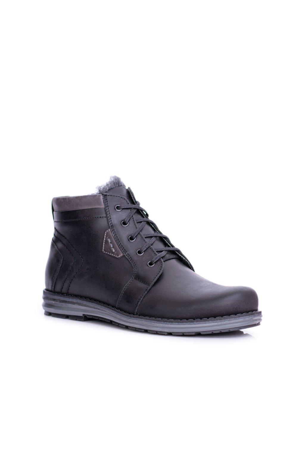 pánske kožené topánky čierne Teplé topánky Verno