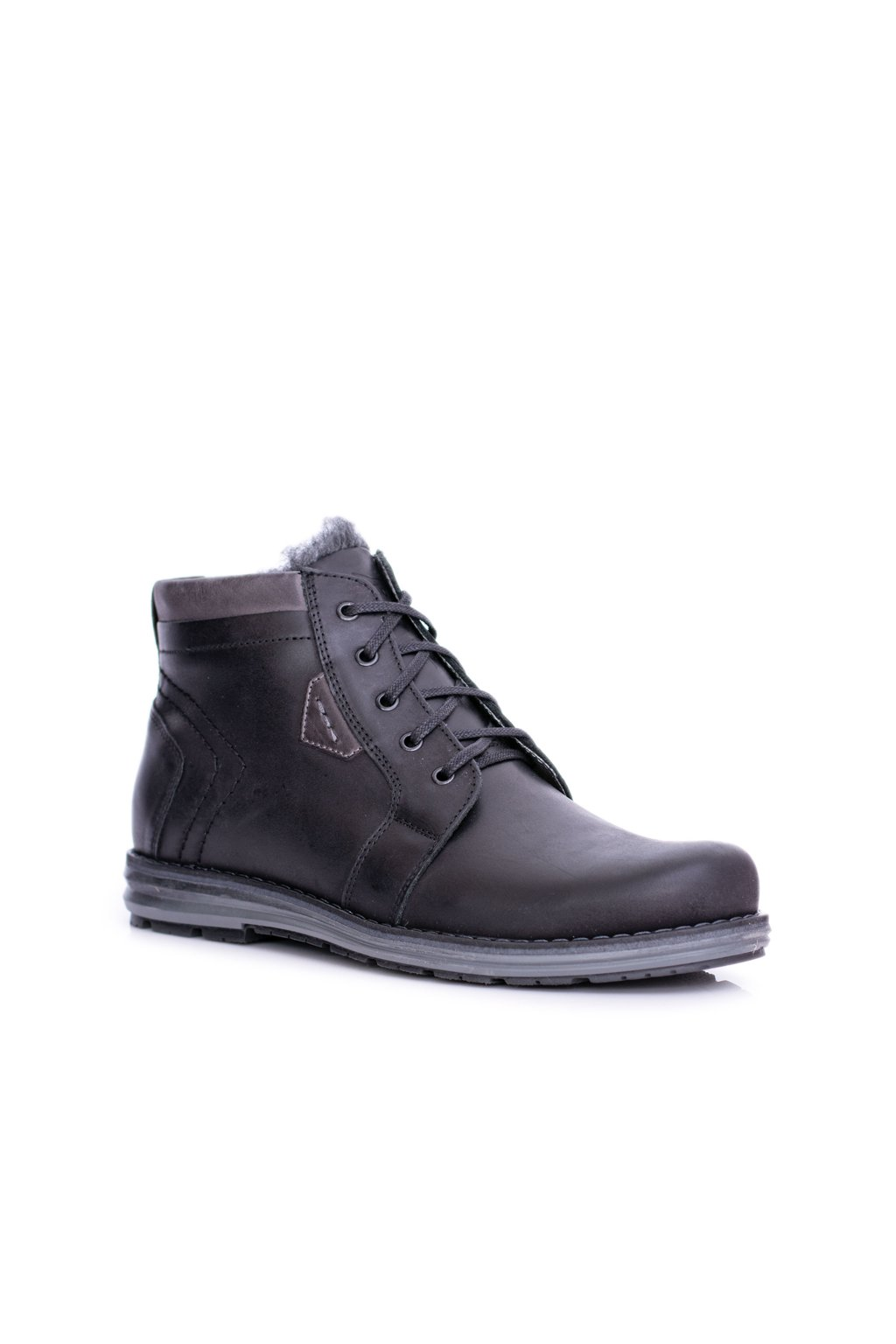 Pánske topánky na zimu farba čierna kód obuvi J-34 BLK