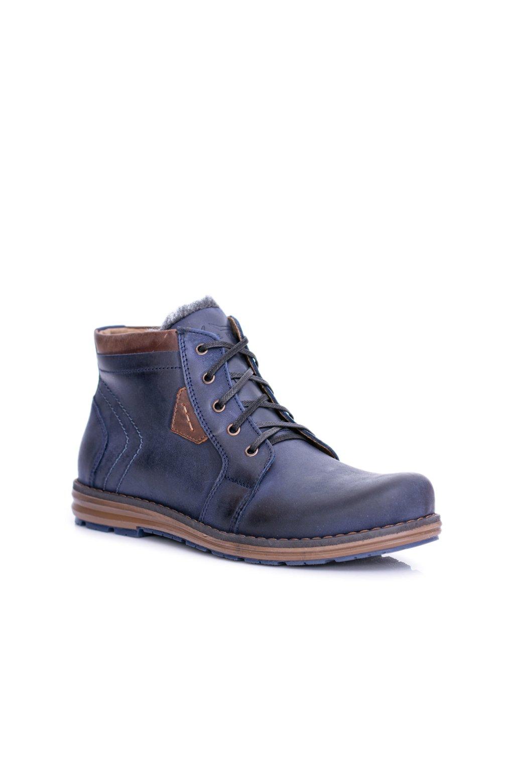 pánske kožené topánky tmavo modré Teplé topánky Verno