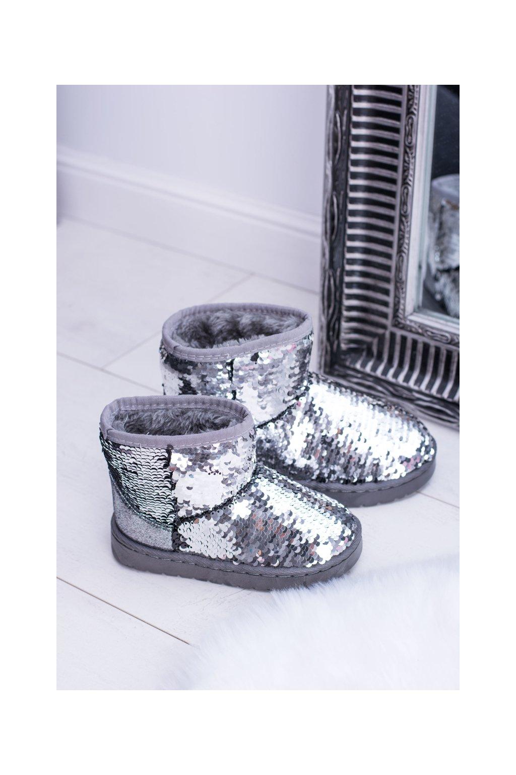 Detské zateplené strieborné snehové topánky Shard