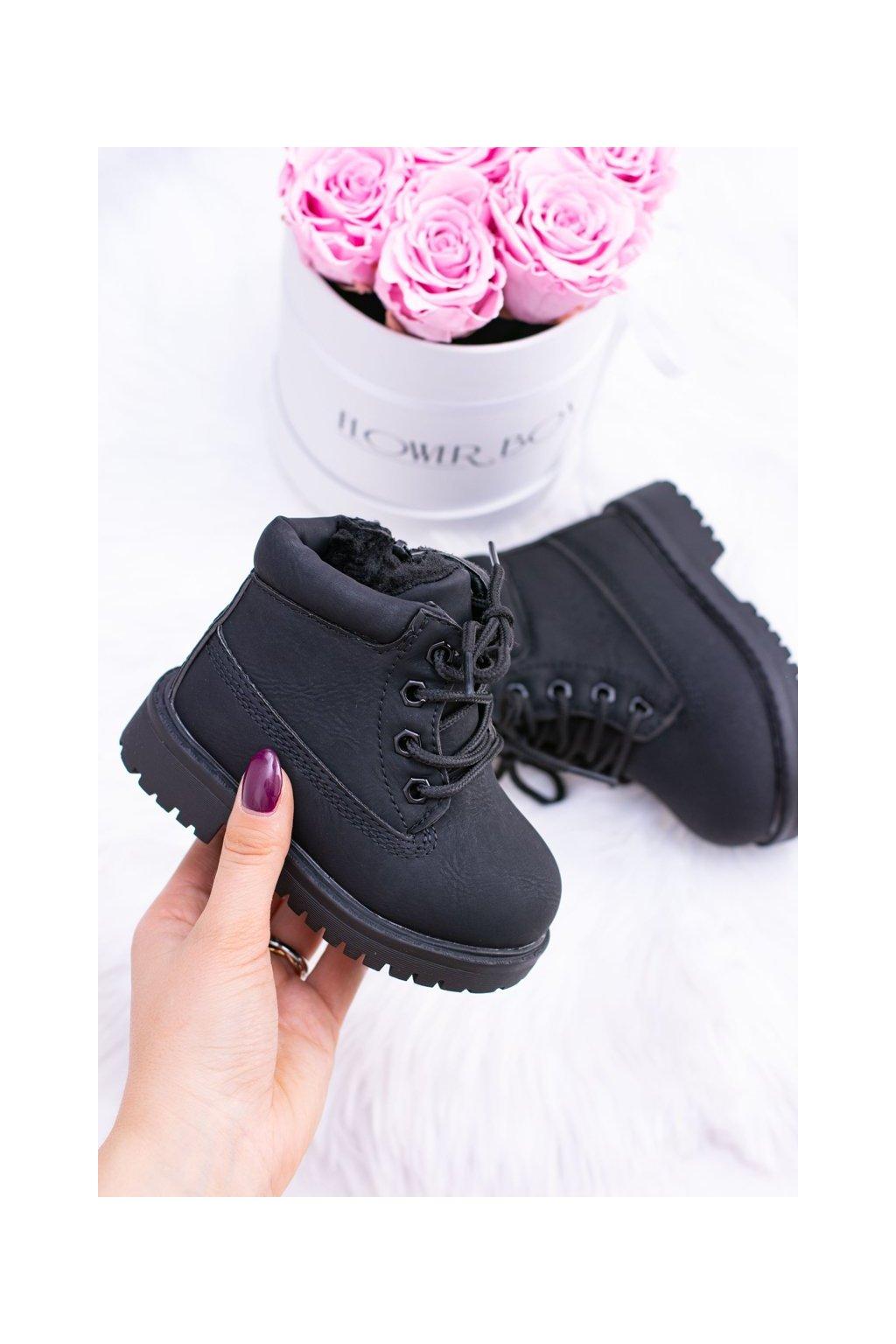 Detské členkové topánky farba čierna kód obuvi 20306-1A/2A/3A BLK