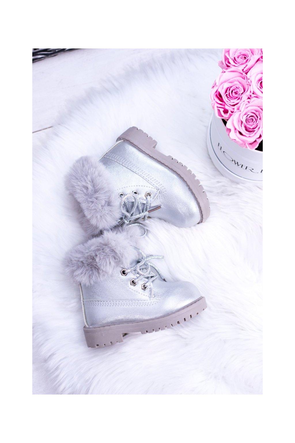 Detské členkové topánky farba sivá kód obuvi 20314-1G/2G SILVER