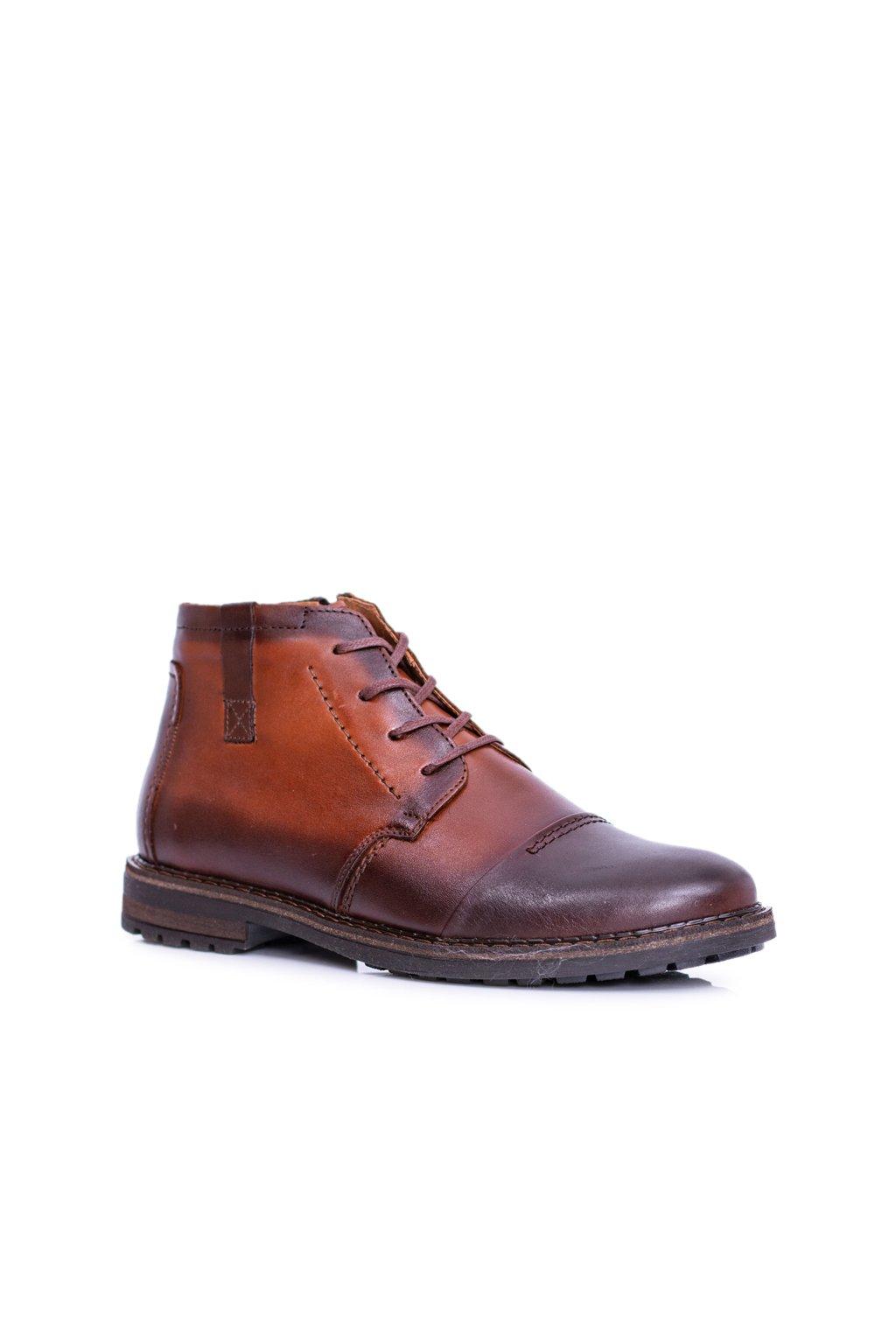 Pánske topánky na zimu farba hnedá kód obuvi 315 KONIAK