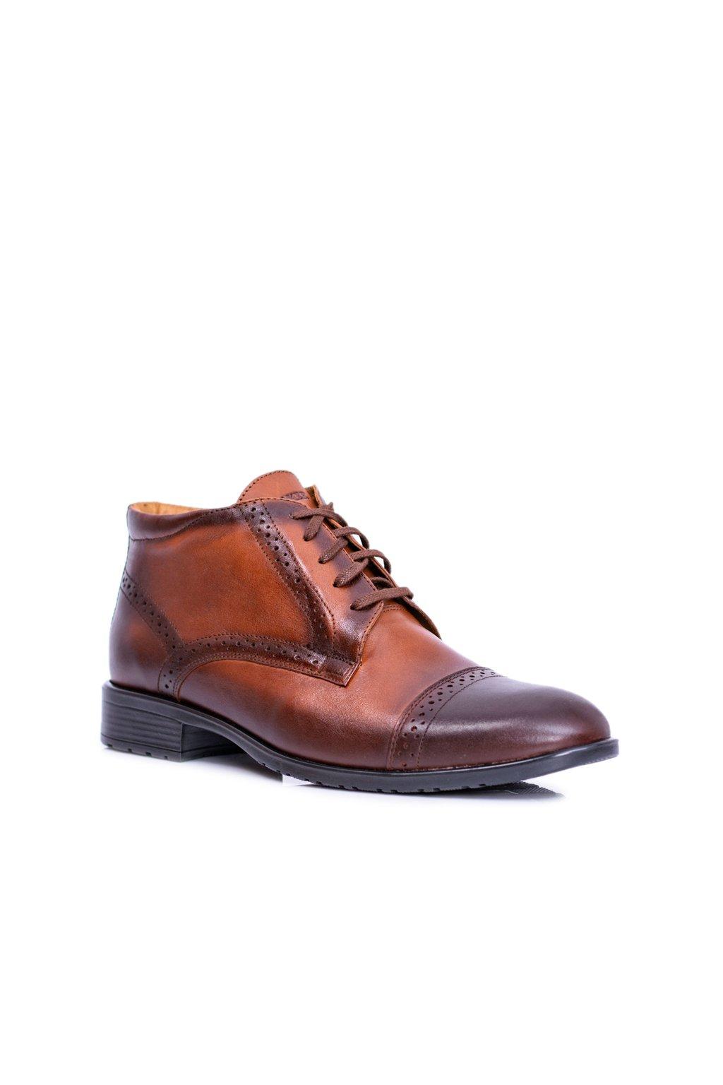 Pánske topánky na zimu farba hnedá kód obuvi 704 KONIAK