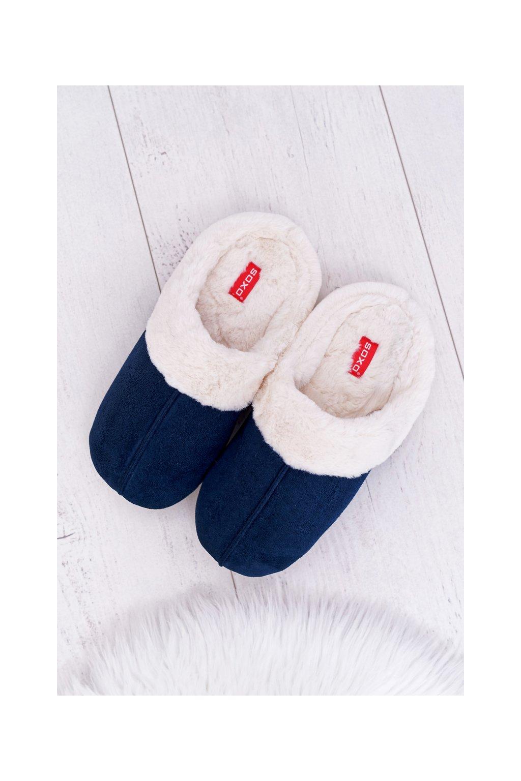 pánske Papuče SOXO s Koženou tmavo modré 70103