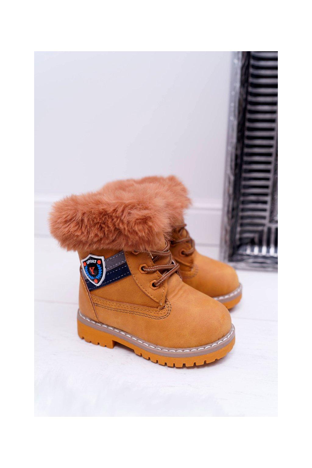 Detské členkové topánky farba hnedá kód obuvi 20313-1B/2B CAMEL