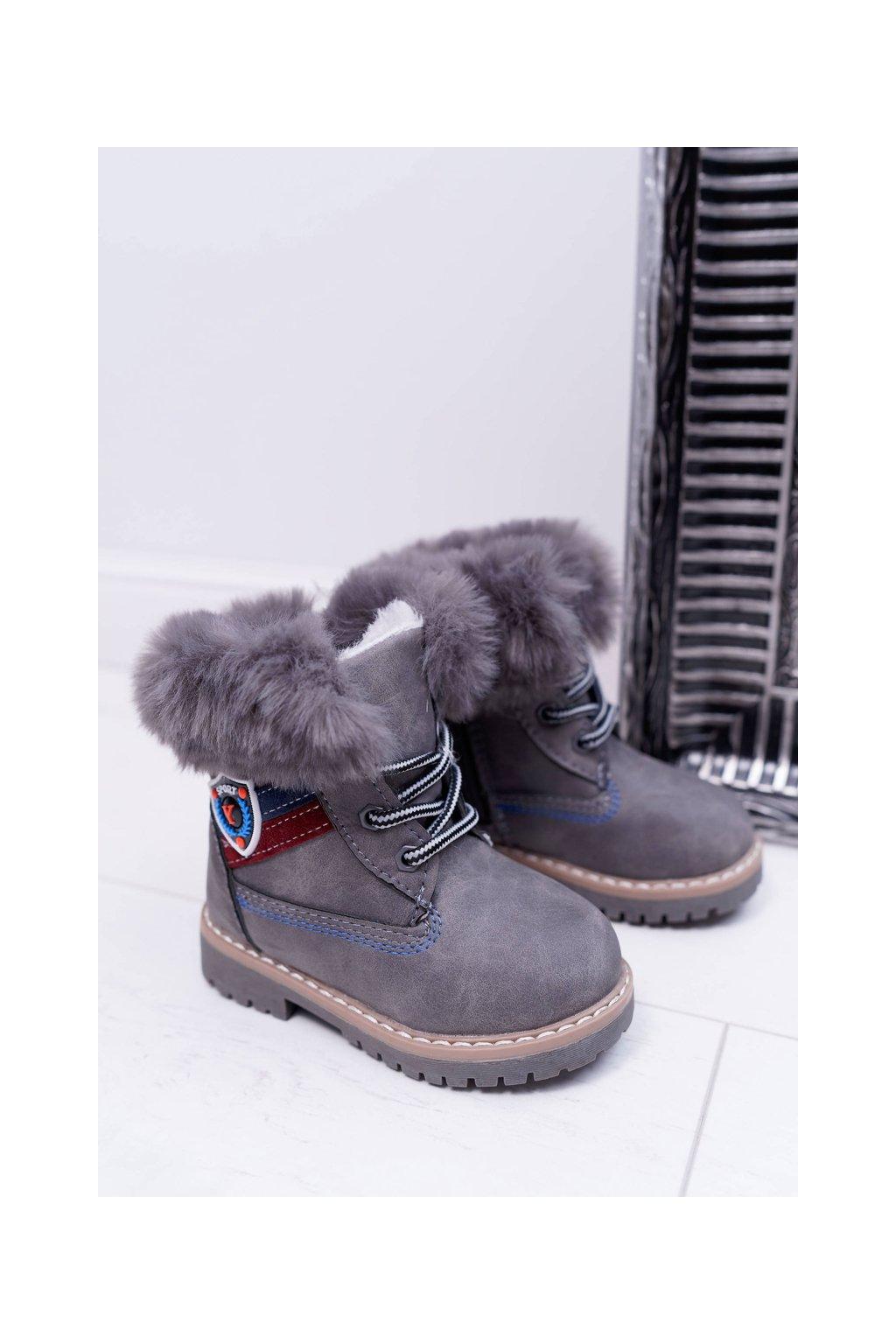 Detské Chlapčenské topánky Teplé sivé Cobi