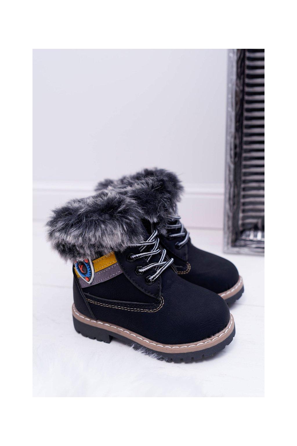 Detské Chlapčenské  topánky Teplé čierne Cobi