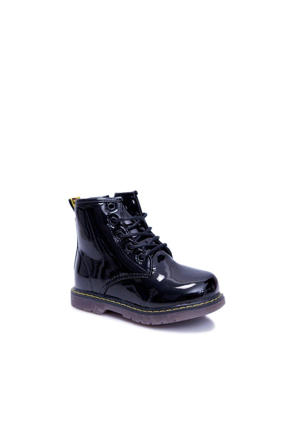 Detské topánky pre chlapcov a dievčatá hrejivé lakované čierne Ferrero