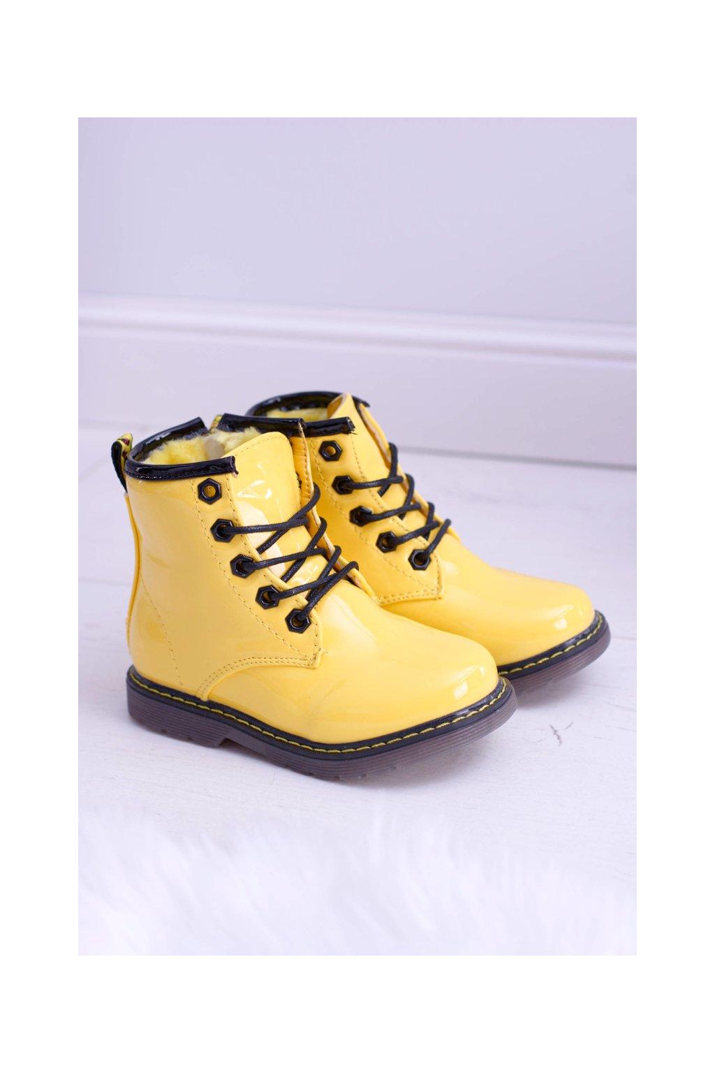 Detské topánky dievčenské chlapčenská obuv teplé lakované žlté Ferrero