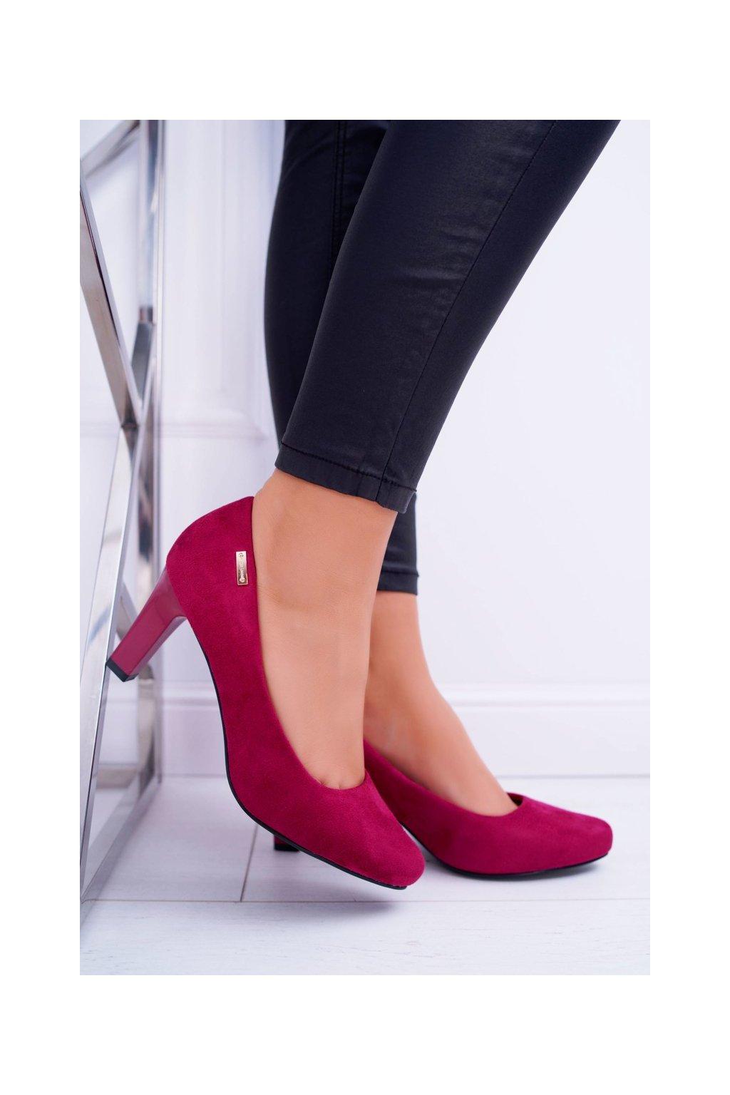 Dámske lodičky farba červená kód obuvi 1459 BURGUND MIC