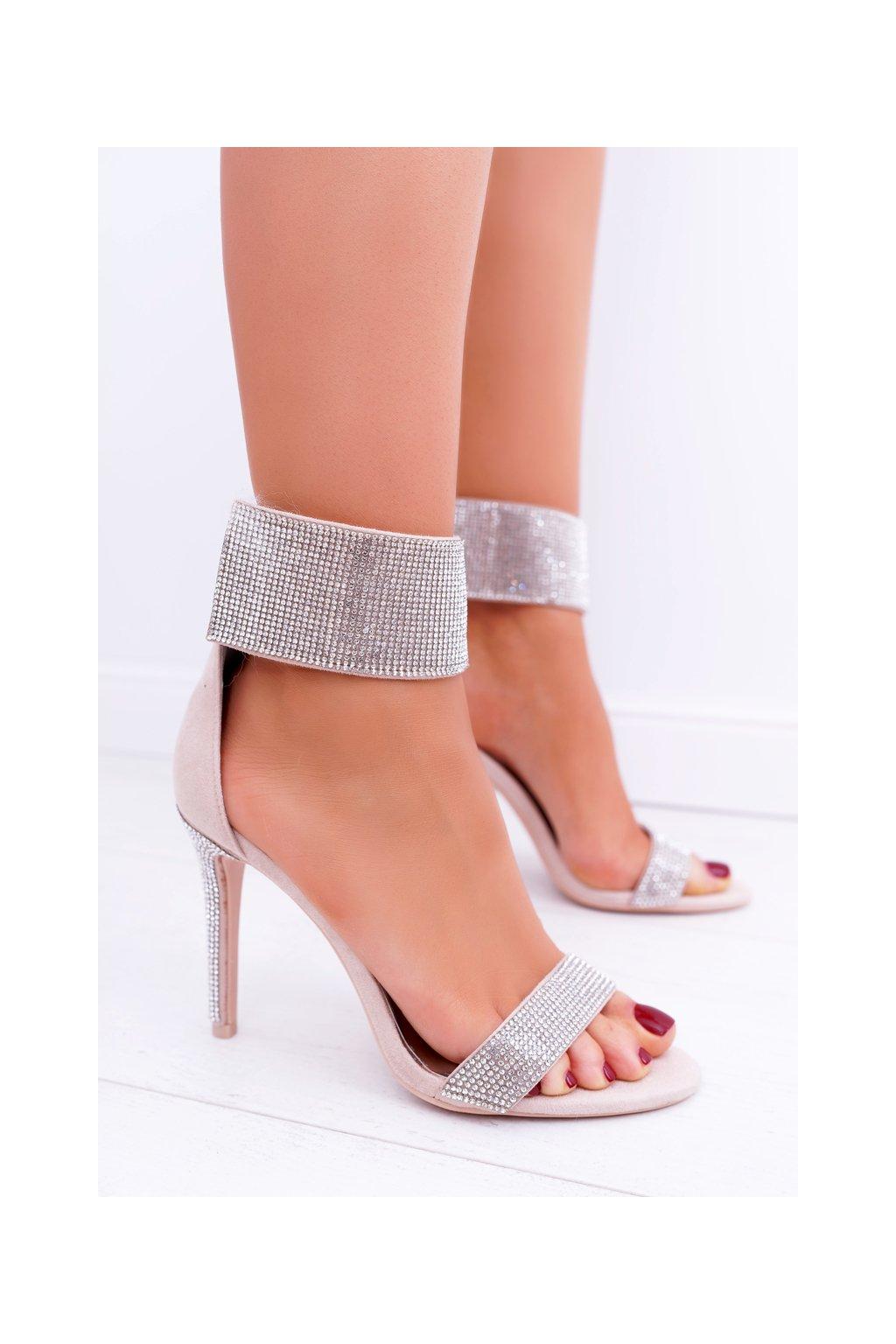 Dámske Sandále na podpätku Lu Boo so zirkónmi na suchý zips Show