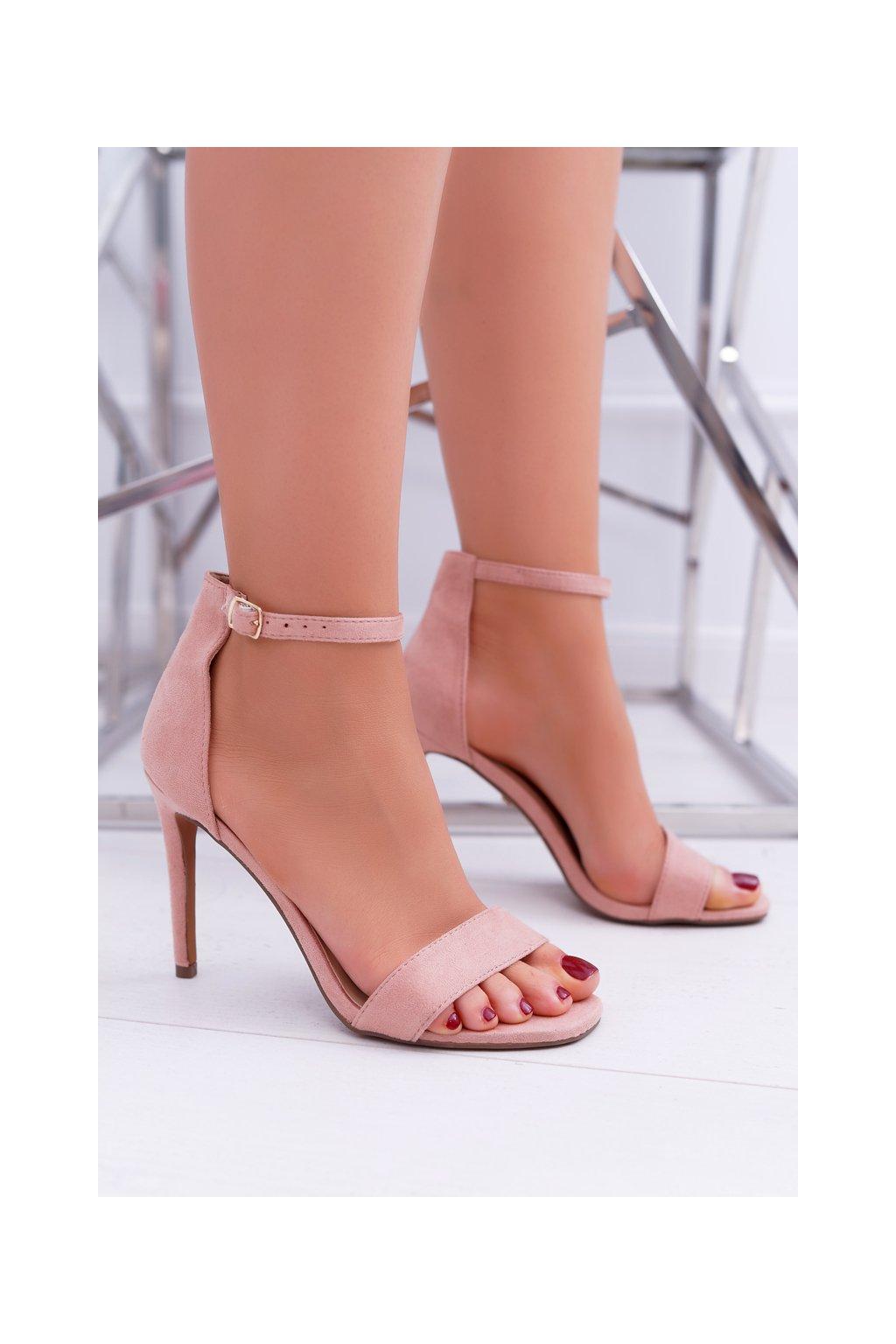 Dámske Sandále na podpätku ružové Simple